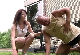 Young dame fucked at the end of one's tether old man in will not hear of slit and frowardness she gives best blowjob