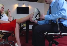 Feet fetish babe drilled