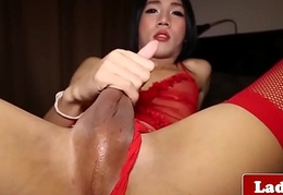 Masturbating ladyboy tuys exasperation and jerks